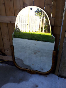 Antique Victorian Solid Wood Frame Hanging Mirror