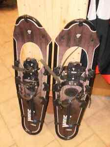"""snow shoes .... oval shaped ... for 200 pound man ... 30"""" long"""