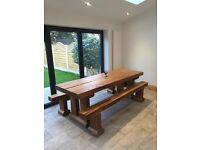 Oak table and bench railways sleepers