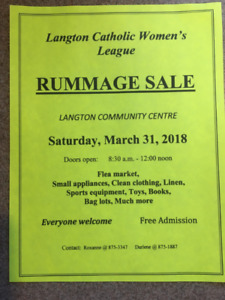 Easter Weekend Rummage Sale Langton