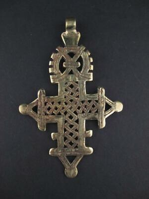 Ethiopian Coptic Cross Pendant Large 95mm African Brass Brass Large Hole