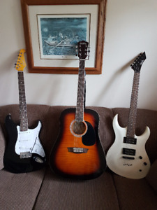 2 Washburn  electric guitars for sale and one Acoustic guitar