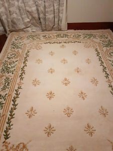 100% Indian Hand Knotted 9 X 12 Wool Ivory Gold & Green Colour