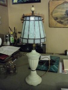 Antique jadite glass lamp and custom glass shade