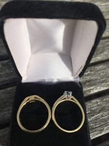Ladies 18K Gold & Platinum Wedding Band & Engagement Rings