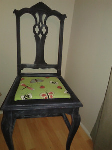 Antique black painted unique decor chair