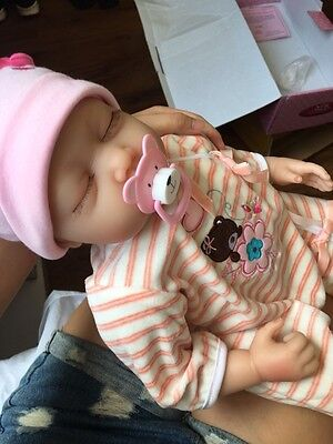 22'' Lifelike Baby Girl Doll Silicone Vinyl Reborn Newborn Dolls+pink Clothes