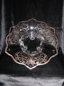 "Indiana Glass ""Double Fleur De Lis"" Bowl with Silver Overlay."