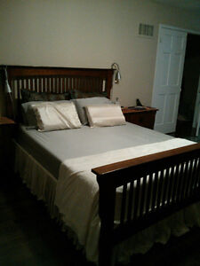 All wood Queen bedroom set. Priced to sell.
