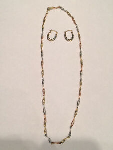 Tri coloured Italian gold necklace and earrings