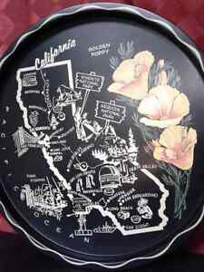 Black metal Vintage round California Tray  Windsor Region Ontario image 4