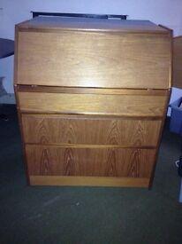 Vintage teak bureau