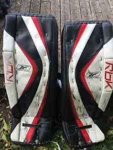 Reebok goalie equipment. Worn by Icedogs Goalie S. Dahm