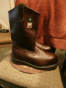"Brown Leather Red Wing ""Peco"" Steel Toe Western Boots"
