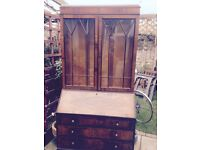 Old writing bureau with display cabnet