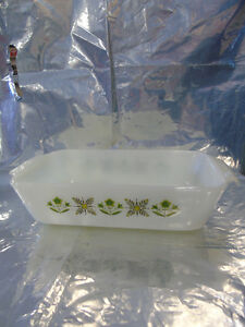 Anchor Hocking 1 qt Casserole Dish 'Milk White w Green Pattern' Peterborough Peterborough Area image 2