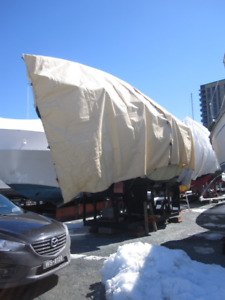 30 foot boat tarp with metal frame for sailboat