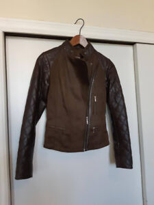 Insulated Danier Leather and Suede Bomber Jacket, Size Small