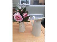 Cream metal jugs - ideal for wedding flowers