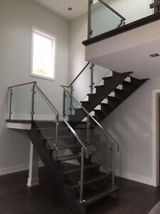 Glass Shower Door & Mirror & Stair