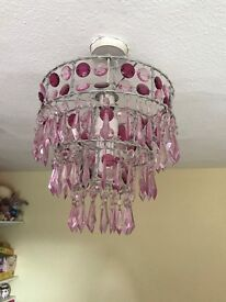 Pink chandelier style light lamp shade