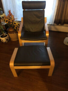 Leather chair with matching leather ottoman