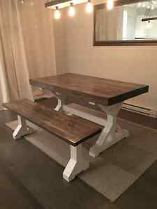 Rustic farmhouse dining table and bench