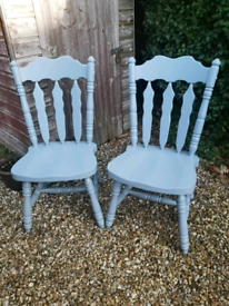 Two Lovely Shabby Chic Painted Farmhouse Chairs F&B