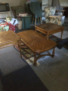 Solid Wood (Oak) Coffee and End Table Set Made in Canada