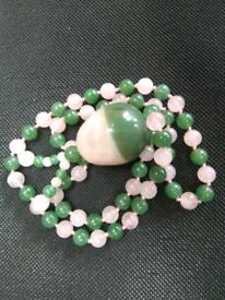 Real rose quartz/jade necklace