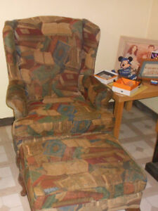 Wing-back chair w/ottoman