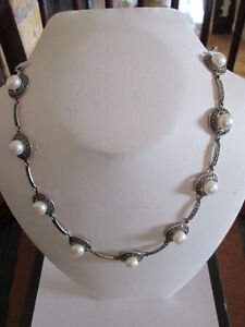 Sterling Silver and Marcasite Pearl Chocker