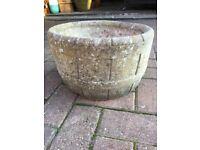 2 solid stone garden planters, barrel design
