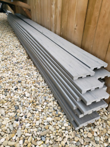 Trex gray composite decking .