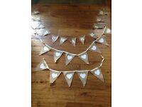 Hessian Wedding bunting - just married & welcome sign