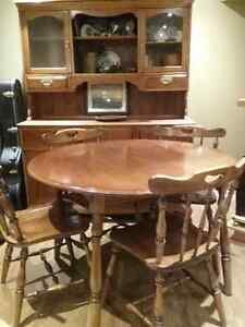 Maple - Solid Wood - Table, 6 Chairs, Hutch $300.00 o.b.o Cambridge Kitchener Area image 1