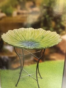 Glass bird bath with stand