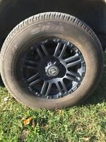 18 inch GMC / CHEV 6 bolt rims with 4 tires 80%