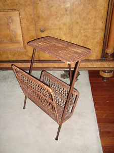 Wicker small table and magazine rack circa 1950