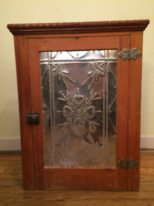 Vintage Wood Medicine Cabinet with Artisanal Tin Work
