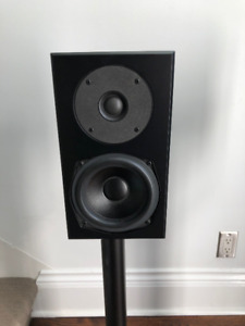 Pair of Totem Satin Mite Speakers With Stands