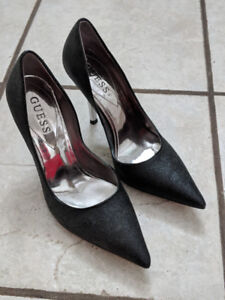 Black Sparkly GUESS? Carrie with Silver Heels SZ 5.5