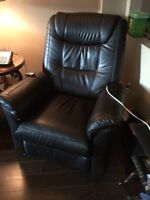Black leather lift chair