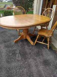 Oak Pedestal Dining table with chairs