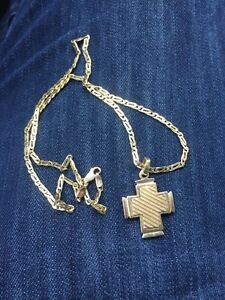 14K gold cross and chain 17.63Grams