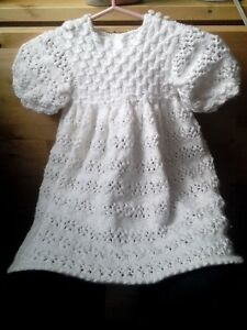 Dress, size 6 mths, hand knit, intricate detail, NEW