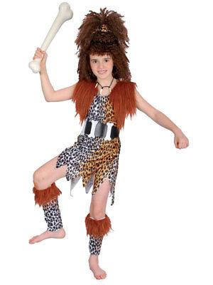 Girl Tarzan Costume (Girls Cavegirl Costume + Wig Childs Tarzan Flinstones Fancy Dress Cave Stone)