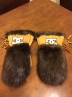 Beaver and moose hide mitts