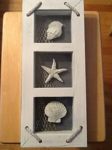 NEW Nautical Wall Hanging Glass Starfish Shells - CC Accepted