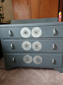 Solid wood painted chest of drawers mid century